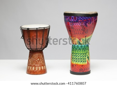 Tribal Drum Isolated on a white background - stock photo