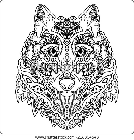 Tribal ethnic wolf totem, detailed ornamental pattern, hand drawn sketch artwork in graphic style, isolated on white background, black and white raster illustration - stock photo
