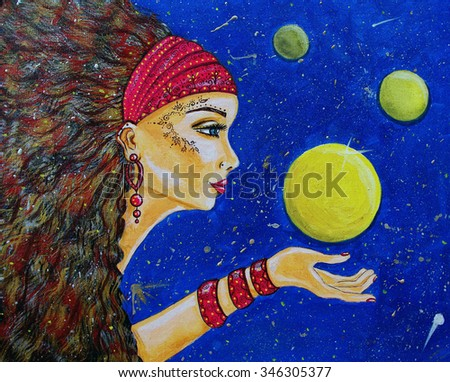 Tribal girl with planets holding planet in her hand - stock photo