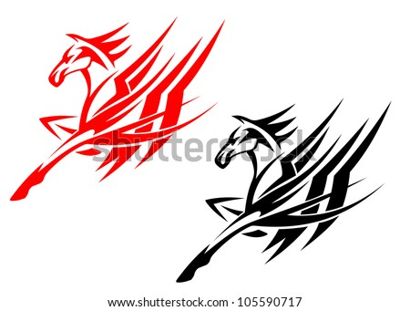 Tribal horse in black and red version for tattoo design. Vector version also available in gallery - stock photo