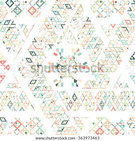 Tribal Mexican ethnic texture, pattern with stripes, geometrical triangles, rhombus. Boho print ornament. Colorful repeating cloth design for spring summer fashion, wrapping. Pale green, olive, coral. - stock photo