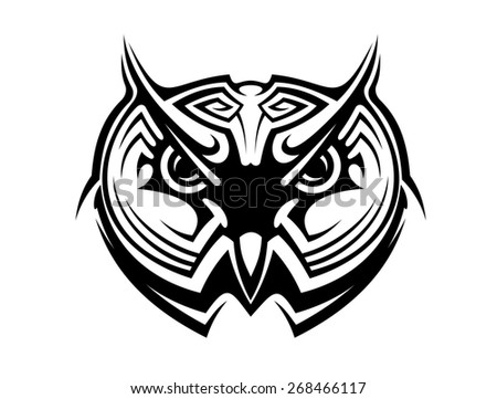 Tribal owl tattoo for mascot design in black and white - stock photo