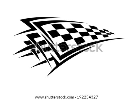 Tribal sport racing tattoo with checkered flag. Vector version also available in gallery - stock photo