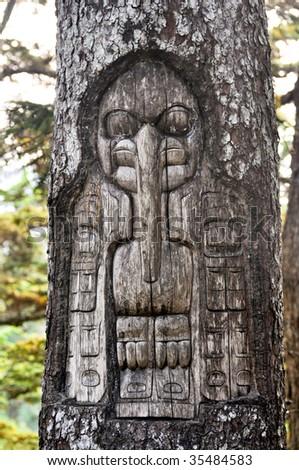 tribal tree carving - stock photo