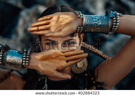 tribal woman portrait outdoors - stock photo