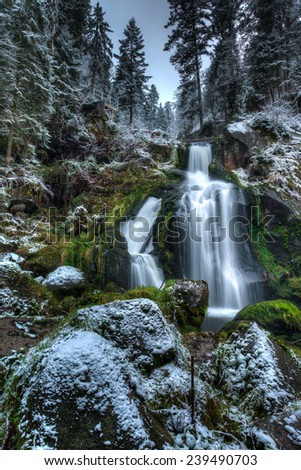 Triberg Waterfalls in Triberg, The Black Forest, Baden Wurttemberg, Germany in Autumn - stock photo