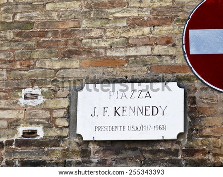 Tribute to former USA President J. F. Kennedy in Ravenna, Italy - stock photo
