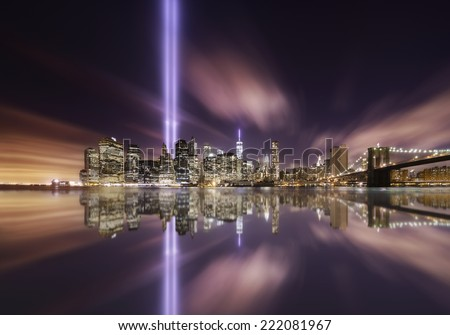 Tributes lights over the skyline of Manhattan, New York on Memorial day - stock photo