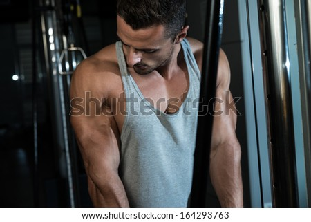 Triceps Exercise. Fit Man On The Triceps Pull down Weight Machine At A Health Club - stock photo