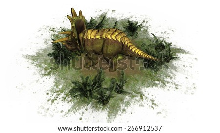 Triceratops Dinosaur - seperated on white background - stock photo