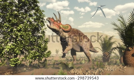 Triceratops eating at magnolia tree next to cycas by day  - 3D render - stock photo