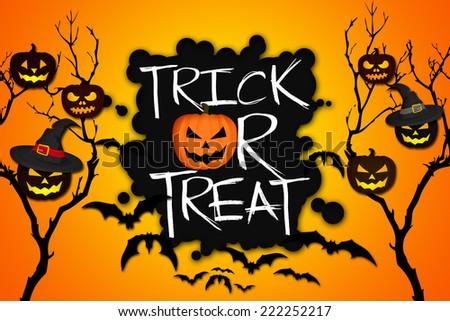 Trick or Treat Tree Halloween Pumpkins Bats Orange Background - stock photo