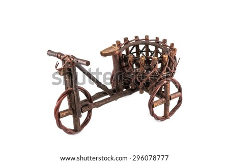 tricycle cargo bicycle for decoration isolated on white background - stock photo