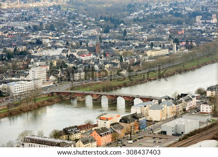 Trier aerial view, Germany Romerbruke (Roman Bridge) over the Mosel River on a sunny day - stock photo