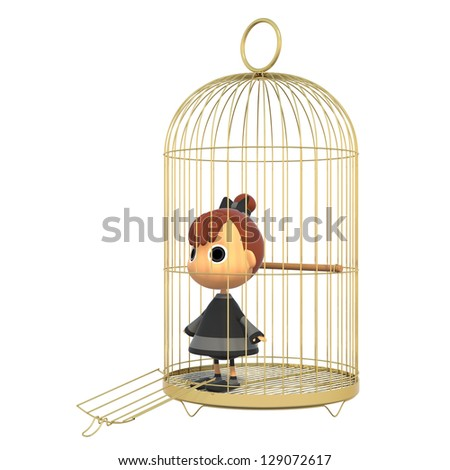 Tries out of the cage. - stock photo