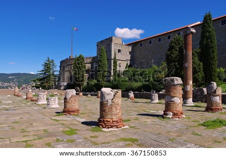 Trieste in Italy, the castle and roman forum - stock photo