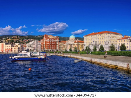 Trieste in Italy, the pier  - stock photo