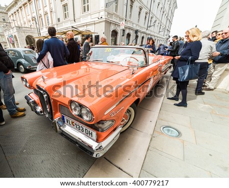 TRIESTE, ITALY - APRIL 3: Photo of a Edsel 1958 on the Trieste Opicina Historic. APRIL 3, 2016. Trieste Opicina Historic is regularity run for vintage and classic Cars.  - stock photo