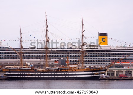 TRIESTE, ITALY - MAY, 15: The Amerigo Vespucci is a tall ship of the Italy navy, named after the explorer Amerigo Vespucci on May 15, 2016 - stock photo