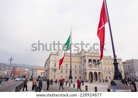 TRIESTE, ITALY - NOVEMBER, 03: View of Italian and trieste flags in Trieste on November 03, 2014 - stock photo