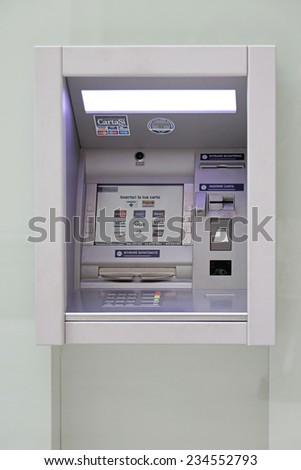 TRIESTE, ITALY - OCTOBER 14: Automated teller machine in Trieste on OCTOBER 14, 2014. Atm at window of Bank Fideuram in Trieste, Italy. - stock photo