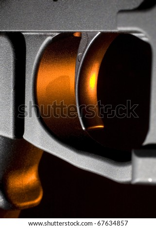 Trigger that is found on todays version of assault rifle - stock photo