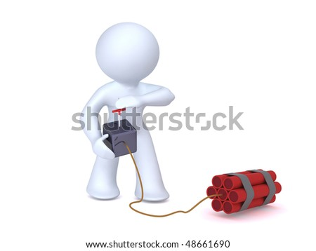 Triggering the explosion - stock photo