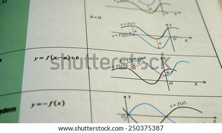 Trigonometry graphs, charts and equations - stock photo