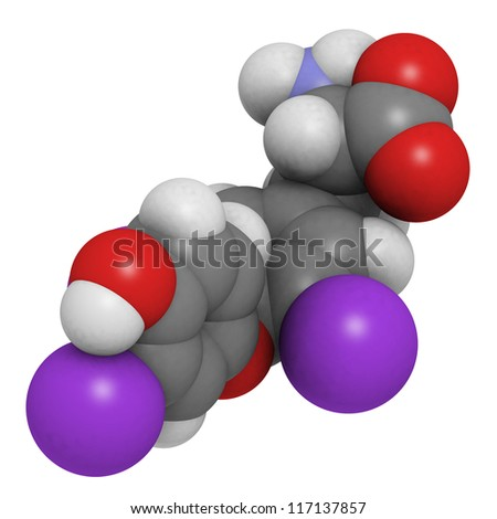 Triiodothyronine thyroid gland hormone molecule. triiodothyronine (t3, liothyronine) is a thyroid gland hormone that plays a role in energy metabolism regulation. - stock photo
