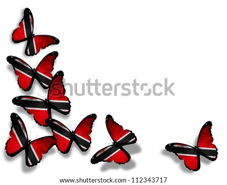 Trinidad and Tobago flag butterflies, isolated on white background - stock photo