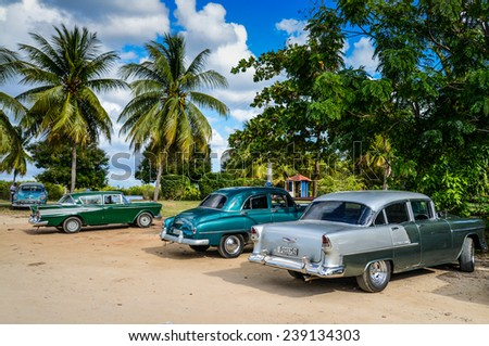TRINIDAD, CUBA - DECEMBER 11, 2014: Old classic American car park on beach of Trinidad,CUBA. Old American cars are iconic sight of Cuba street. - stock photo