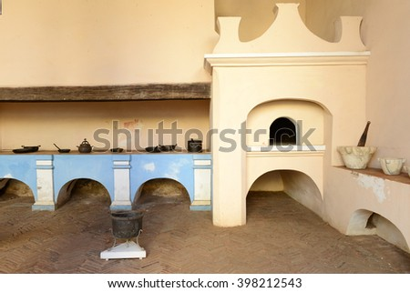 Trinidad, Cuba - 9 january 2016: Old kitchen of a colonial house at Trinidad on Cuba - stock photo