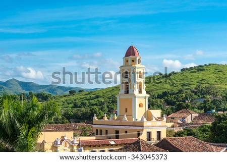 Trinidad de Cuba a travelling landmark in the Caribbean: Aerial view of Trinidad skyline including the Convent of Saint Assisi which is currently used as the Museum of the Fight Against Bandits - stock photo
