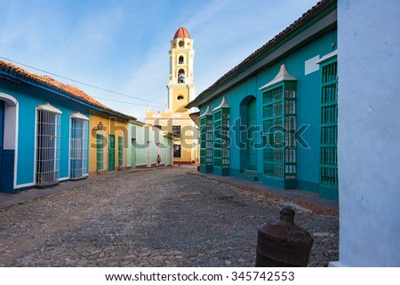 Trinidad de Cuba, main plaza including the Convent of Saint Francis de Assisi currently the Museum of the Fight Against Bandits. Trinidad is a Unesco World Heritage and major tourist landmark  - stock photo