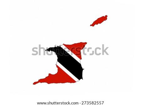 trinidad tobago country flag map shape national symbol - stock photo