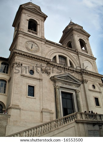 Trinita'  dei Monti famous church in Rome - stock photo