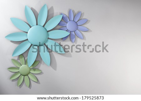 Trio of Pastel Spring Flowers over White Background - stock photo
