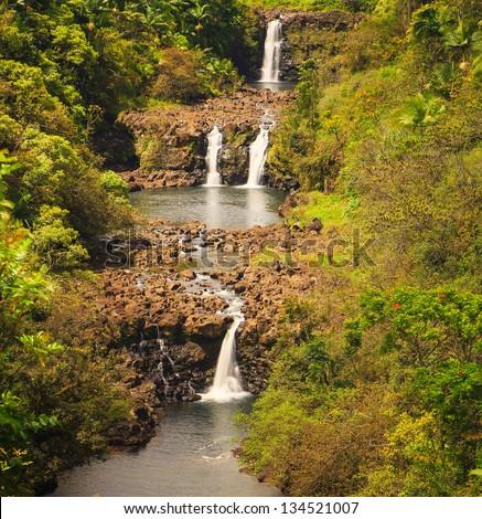 Triple Tiered Umauma Waterfalls on the Big Island of Hawaii - stock photo