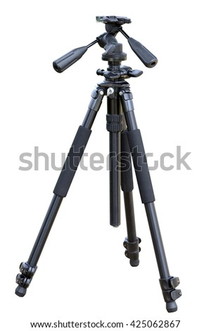 tripod for camera isolated on a white background - stock photo
