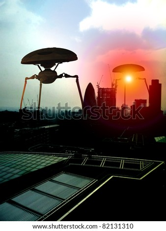 tripods within a London Cityscape. - stock photo