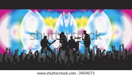 Trippy concert with psychodelic background and cheering crowd. - stock photo