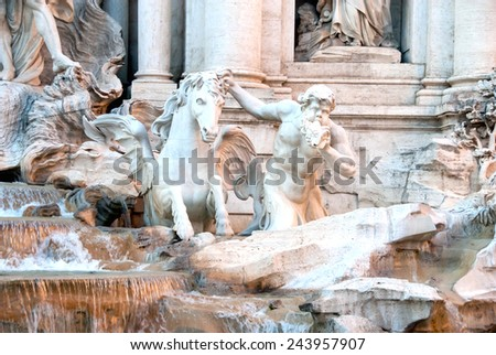Triton and Winged Horse of the Trevi Fountain. - stock photo