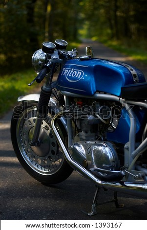 Triton motorcycle - engine of the Triumph T100 in Norton's frame - stock photo