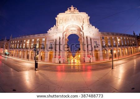 Triumphal arch at Commerce Square. Lisbon, Portugal - stock photo
