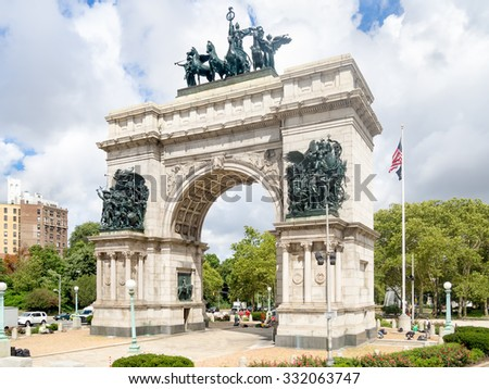 Triumphal Arch at the Grand Army Plaza in Brooklyn, New York City - stock photo
