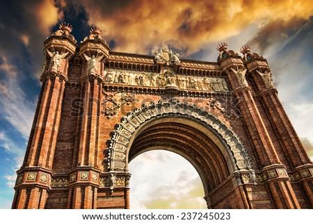 Triumphal Arch of Barcelona againstÃ?Â?? sky - stock photo
