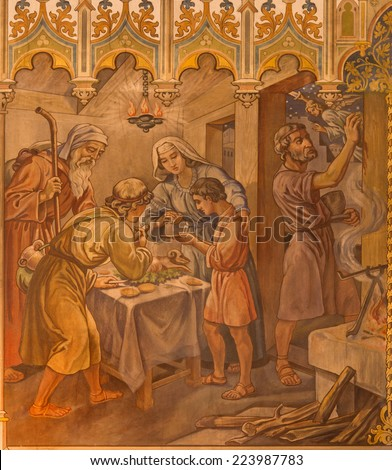 TRNAVA, SLOVAKIA - OCTOBER 14, 2014: The neo-gothic fresco of fhe scene as Israelites at the Pesach supper at the Lord's Passover by Leopold Bruckner (1905 - 1906) in Saint Nicholas church. - stock photo