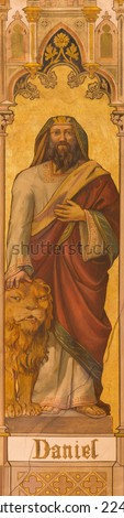TRNAVA, SLOVAKIA - OCTOBER 14, 2014: The neo-gothic fresco of prophet Daniel by Leopold Bruckner (1905 - 1906) in Saint Nicholas church.  - stock photo