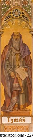 TRNAVA, SLOVAKIA - OCTOBER 14, 2014: The neo-gothic fresco of prophet Isaiah  by Leopold Bruckner (1905 - 1906) in Saint Nicholas church.  - stock photo