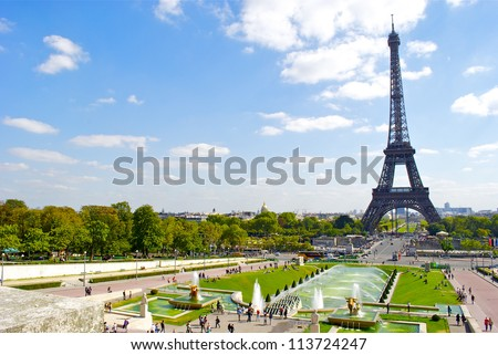 Trocadero fountain and the Eiffel Tower - stock photo